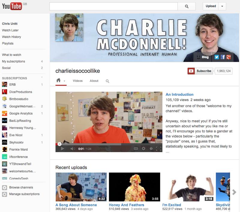 charlieissocoollike on YouTube