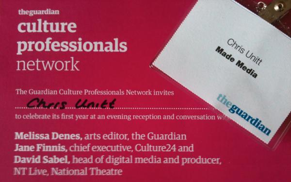 Guardian Cultural Professionals Network invitation