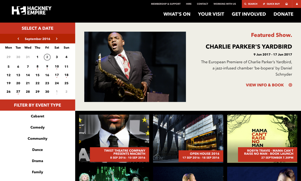 Hackney Empire what's on page